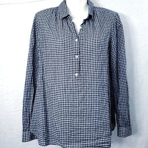 J Crew Blue Gingham Top